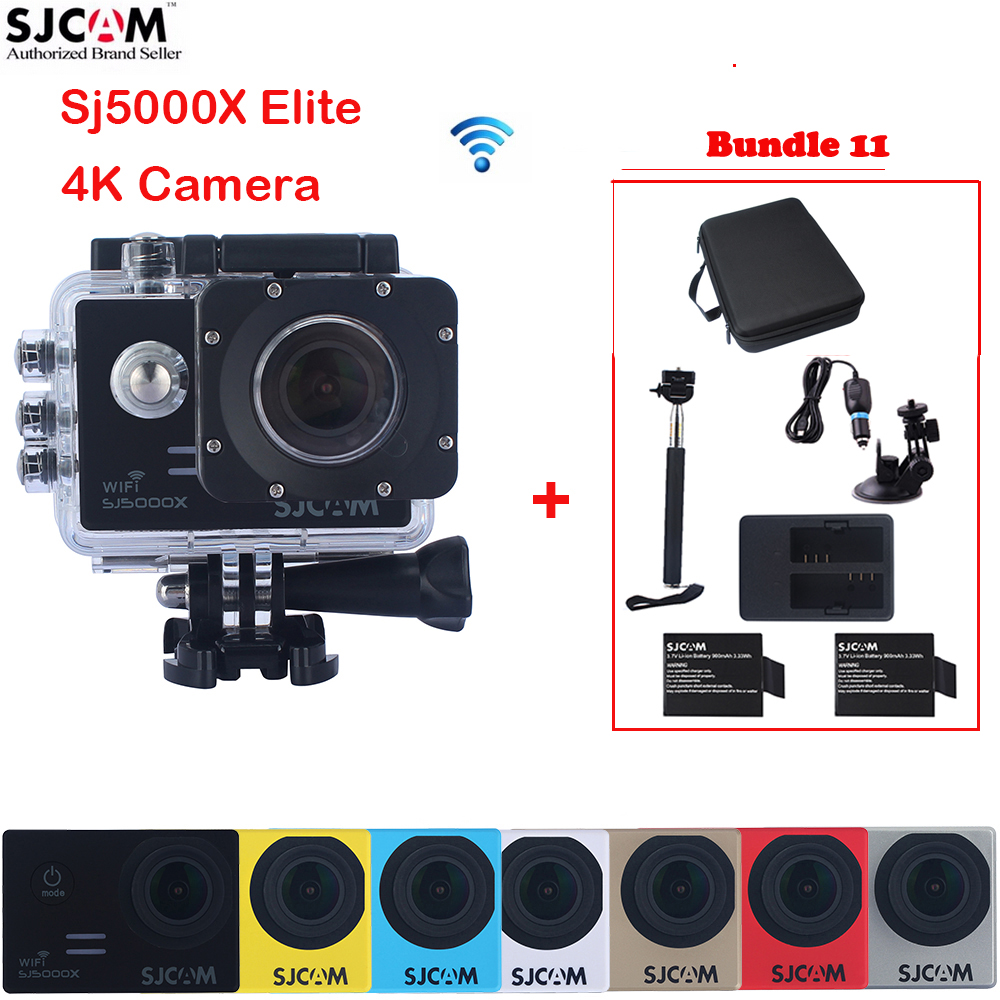 SJCAM Sj5000 Series SJ5000X Elite WiFi Waterproof Sports Action Camera Sj 5000X Cam DV+2Battery+Dual Charger+Monopod+Car Set+Bag original sjcam m20 wifi 4k 24fps 30m waterproof sports action camera sj cam dvr 2 extra battery dual charger remote monopod