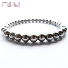 6MM 316L Stainless steel beads bracelet for women,Best sell round 316L Stainless steel beaded strand bracelets jewelry for men(China)