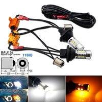 2pcs High Power Bau15s 1156B Dual Color Bi Color Switchback LED Lights DRL Turn Signal Light