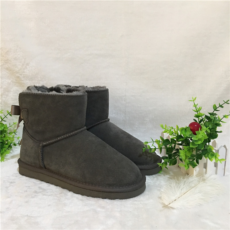 Large size EU34-42Australian Style women's mini Bailey bow snow boots winter leather and ankle boots brand IVG, 10 colors. цена