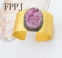 Purple Blurry Stone Gold Cuff Baroque 7 5inch Unique Style FPPJ Bracelet Wholesale Beads Nature