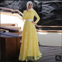 Yellow Lace Long Sleeve Muslim Formal Evening Dress 2017 Hijab Islamic Abaya Kaftan dress High Neck kerchief evening gowns