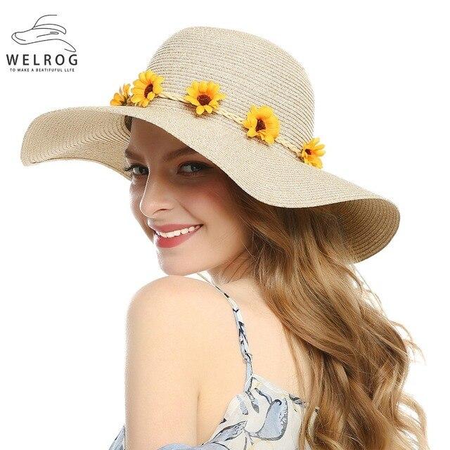 Welrog mujeres sol sombrero grande ancho playa del borde del sombrero de  paja girasol wreath corona 5f5bd3f70f6