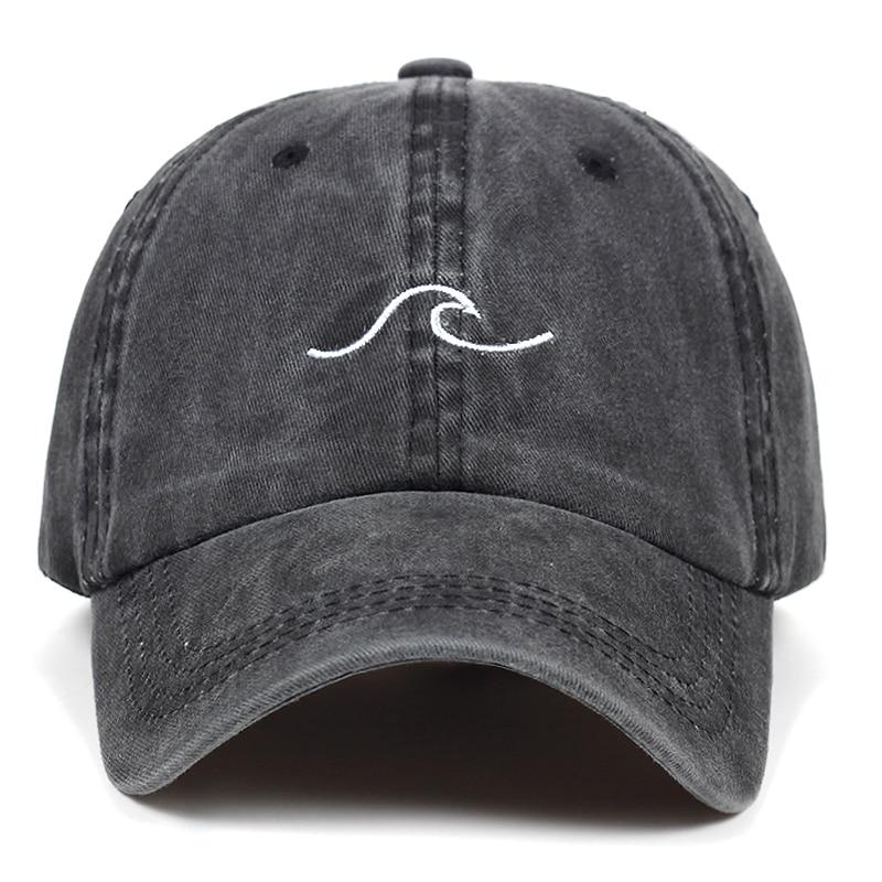 Washed wave dad hat for women cotton embroidery wavy line baseball cap men hip hop cap snapback hat sea sports cap Bone Garros