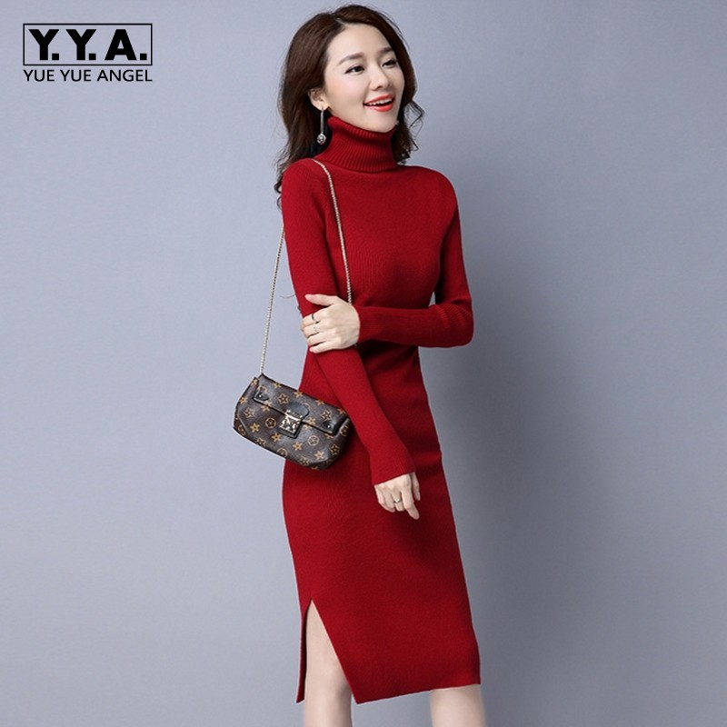 Sweater Dress Women Solid Knitted Fashion High Quality Turtleneck Long Pullovers Female Autumn Slim Fit Casual Sweater Knitwear