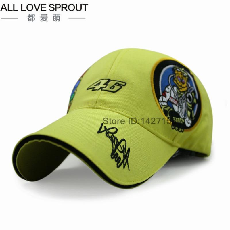 Prix pour 2017 MOTO GP VR46 Racing Cap Broderie Hommes/Femmes Casquettes de Baseball Moto Course chapeaux de Soleil livraison gratuite