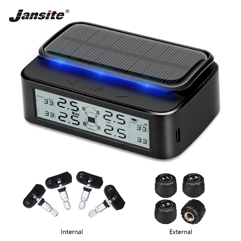 Jansite Car TPMS Wireless Tire Pressure Alarm Monitor System Ink screen Display Solar charging Auto Security