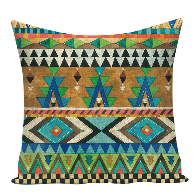 Us 2 99 40 Off Geometric Aztec Cushion Bohemian Home Decor Camping Fashion Cover Corrugated Print Linen Bedding Photo Pillow In