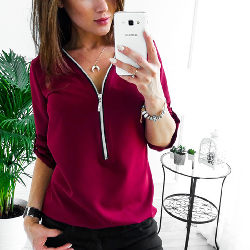 5XL Plus Size Zipper Short Sleeve Women   Blouses     Shirts   Sexy V Neck Solid Womens Tops and   Blouses   Casual Tee   Shirts   Tops Female