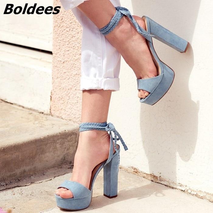 где купить 2018 Rope Style Block Heel Lace Up Women Heeled Dress Shoes Fashion Platform Sandals Sexy Heels Light Blue Suede Shoes по лучшей цене