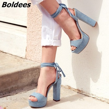 2018  Rope Style Block Heel Lace Up Women Heeled Dress Shoes Fashion Platform Sandals Sexy Heels Light Blue Suede Shoes