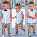 Hot Summer 2016 Boys Suit Shirt T-shirt + Pants 2pcs / set sleeveless bow fashion camouflage pants suit Kids Free shipping