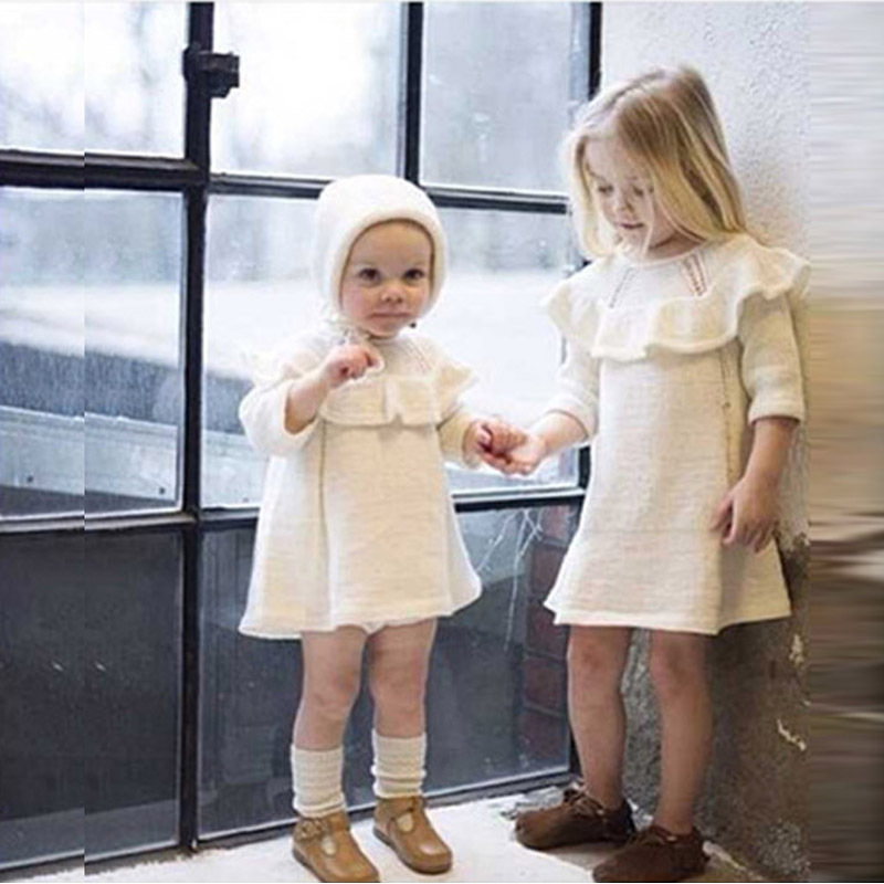 цены  Fashion 2017 Spring Autumn New Girls Cotton Knitting Dress + hat 2 piece Thickening Baby Girl Princess Dress Winter Kids Clothes