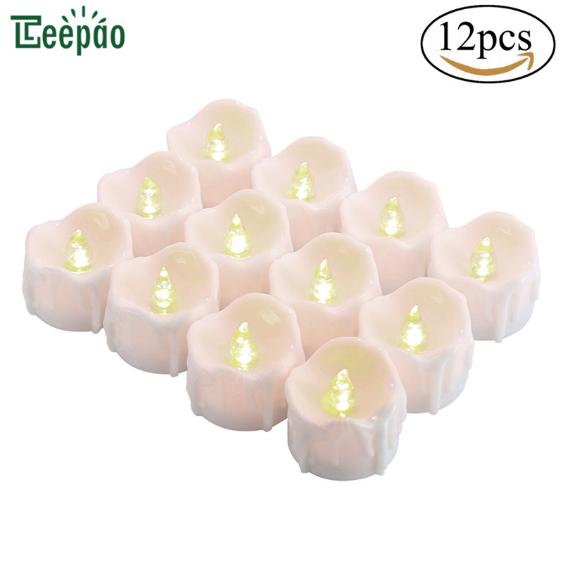 12pcs Flameless LED Tea Lights Candles with Timer Wax Dripped Battery Operated Electronic Candles for Wedding Party Chirstmas