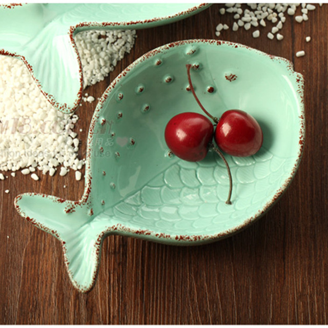 US $19.0 |Home Decor fish dish design decorative plates Ceramic Dessert  Salad decorative bowl Fruits Plates room Kitchen crafts accessory-in Bowls  & ...