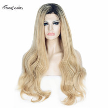 Strongbeauty Long Blonde Lace Front Wig Synthetic Heat Resistant Ombre Blonde Wavy Wigs for Black Women