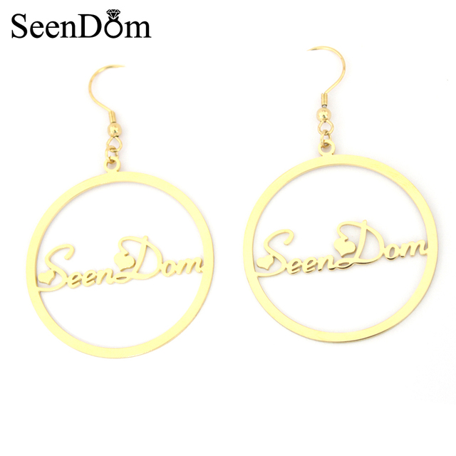 Valentine S Gift Stainless Steel With Gold Color Handwriting Signature Love Heart Customized Name Hoop Earring 4cm For