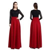 S M L 5XL High Waist Pleat Elegant Skirt Empire Solid Color Women Long Skirts Plus Size Ladies A line Skirt Wine Red Black Blue
