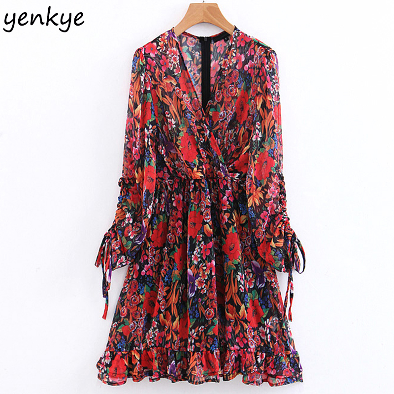 Boho Summer Dress 2019 Women Drawstring Cuffs Floral Print Dress Lady Cross V Neck Long Sleeve Ruffle Casual Chiffon Dress
