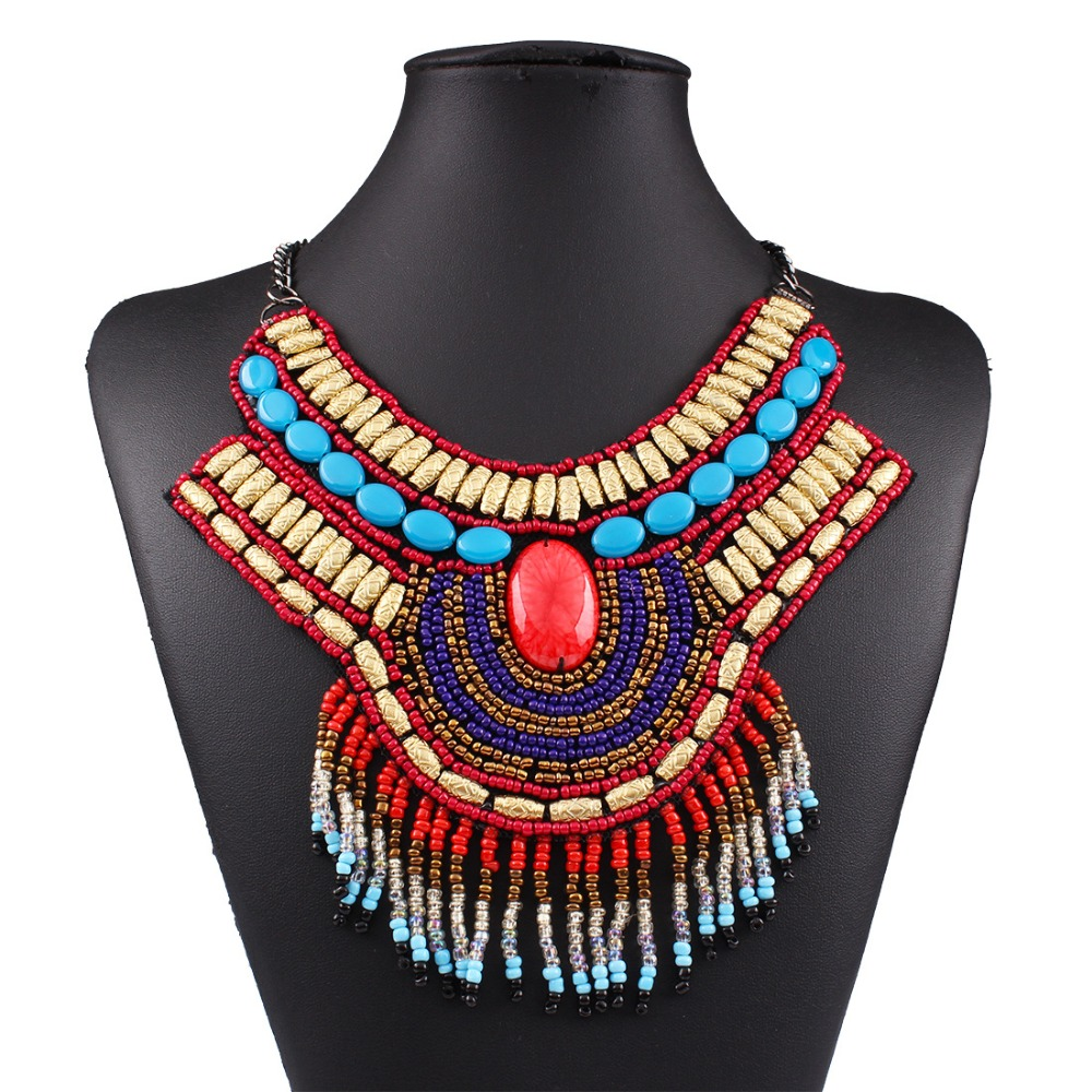 New Bohemian Fashion Collars 2017 High Quality Gypsy Tribal Style Beaded Choker Statement Necklace Pendants For