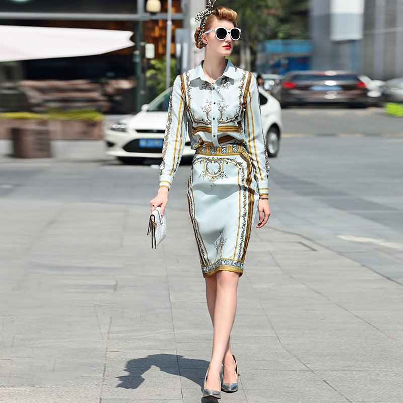 Designer Runway Suit Set Women's Sets Long Sleeve Shirt Tops + Print Skirt suit 2 Two piece set
