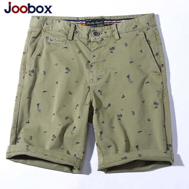Joobox 2018 Mens Shorts Summer Beach Casual Short Cotton Kneel Length Straight Fitness Fashion Mens Shorts with Pockets for Men