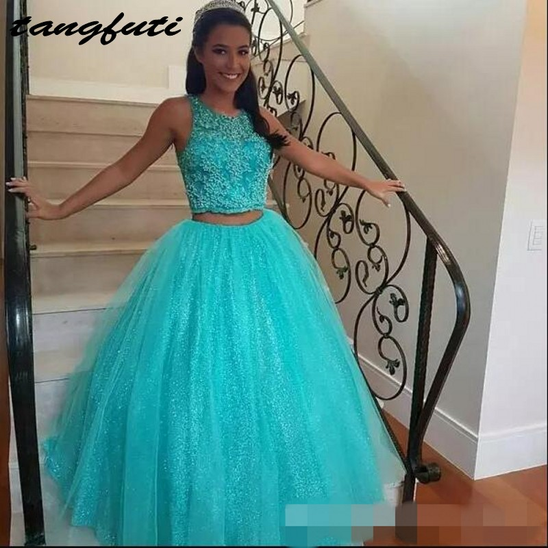 9fa50e1ce6c Ball Gown Quinceanera Dresses Long Lace Baeded Two Pieces Dress 15 Sweet 16 Quinceanera  Gown Prom