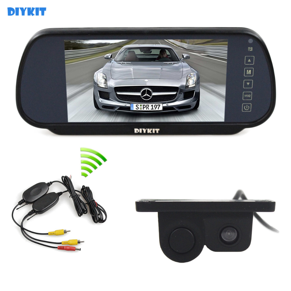 DIYKIT Wireless Parking System Waterproof Parking Radar Sensor Rear View Car Camera 7 inch Car Mirror Monitor Rear View Monitor diykit wireless parking system waterproof parking radar sensor rear view car camera with 7 inch car rear view mirror monitor