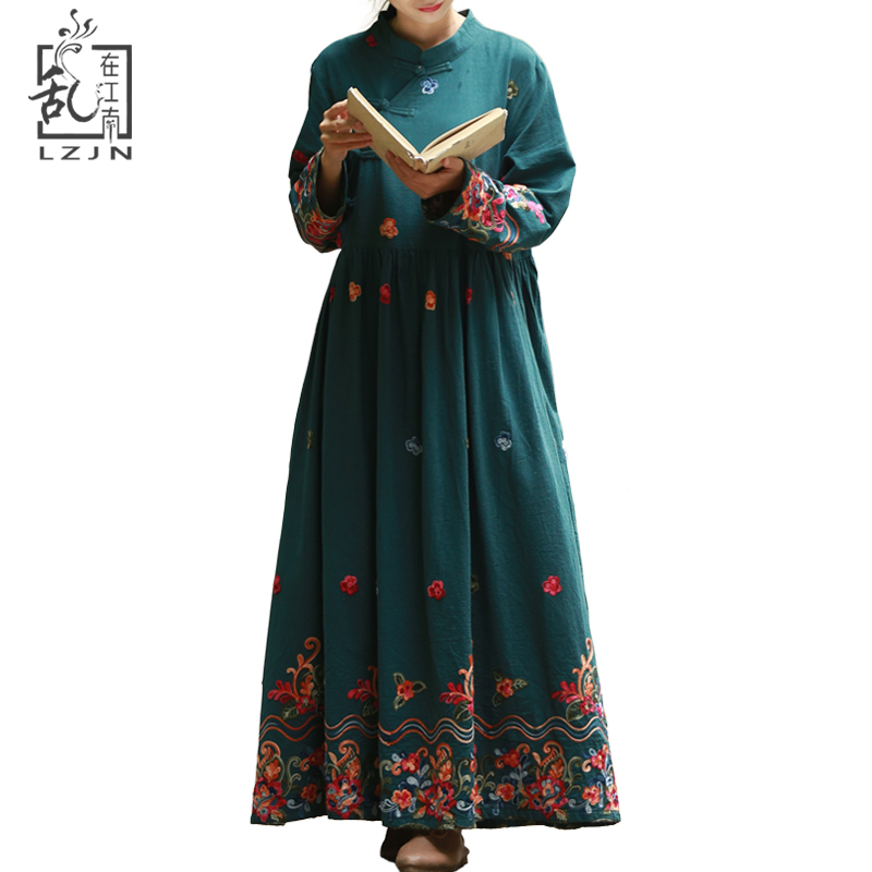 LZJN Red Shirt Dress Long Women Vintage Floral Dresses Wrist Length Sleeve Cotton Robe Party Embroidery