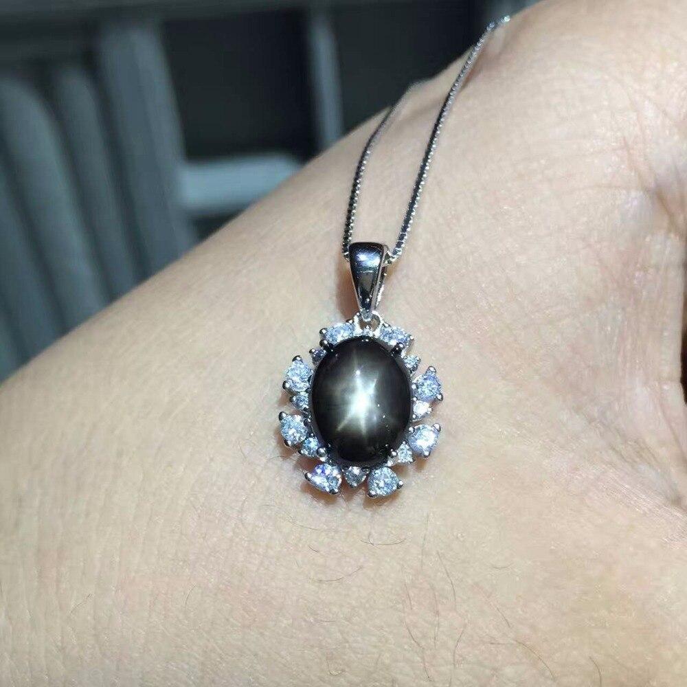 Conjunto de joyas de zafiro con luz de estrella de plata 925 sólido clásico, conjunto de joyas de GEMA de plata con colgante y anillo de zafiro natural - 6