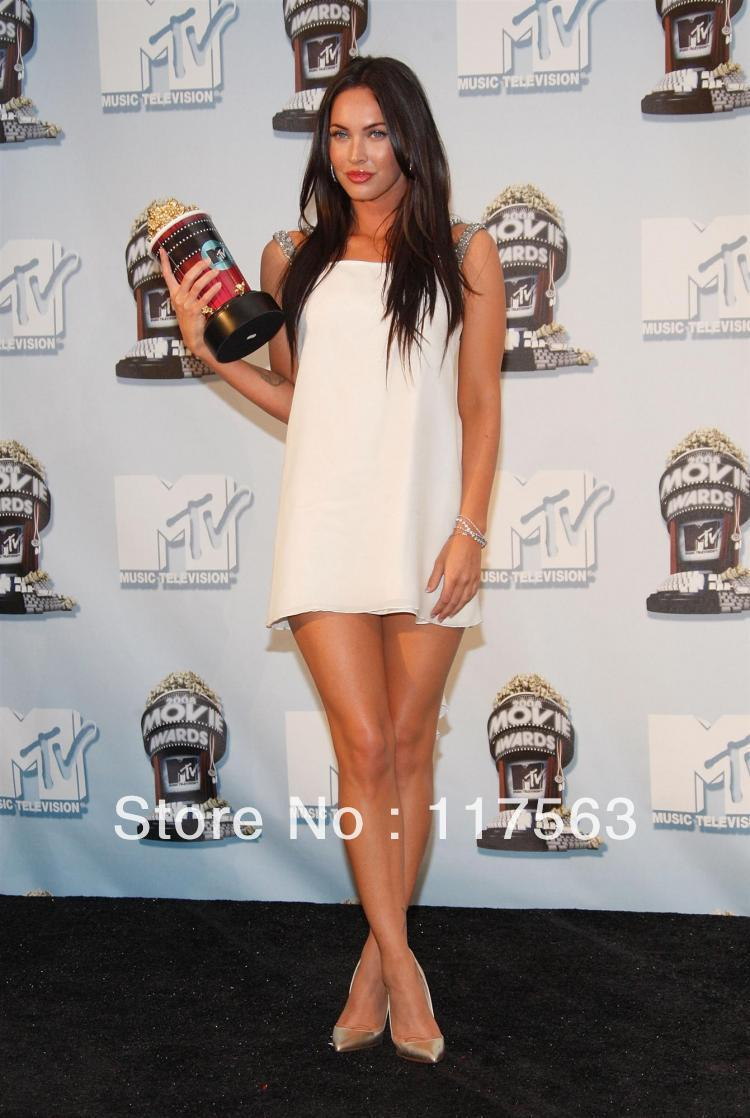 Celebrity-inspired Dresses 2019 New Style Megan Fox 2016 Mtv Movie Awards Red Carpet Dresses Sexy White Beaded Evening Dress Chiffon Short Mini Celebrity Dresses