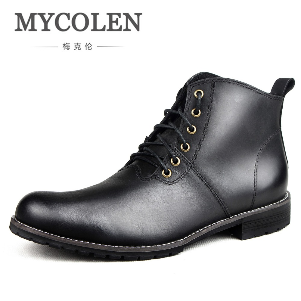 MYCOLEN Brand Fashion Comfortable MenS Winter Autumn Warm Boots Handmade Ankle Boots Work Shoes Men Boots Leather Boots HommeMYCOLEN Brand Fashion Comfortable MenS Winter Autumn Warm Boots Handmade Ankle Boots Work Shoes Men Boots Leather Boots Homme