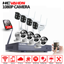 HCVAHDN Plug And Play 8CH NVR Wireless CCTV System 1080P HD IP66 Mini Home Security Video WIFI IP Camera Surveillance Kit ONVIF