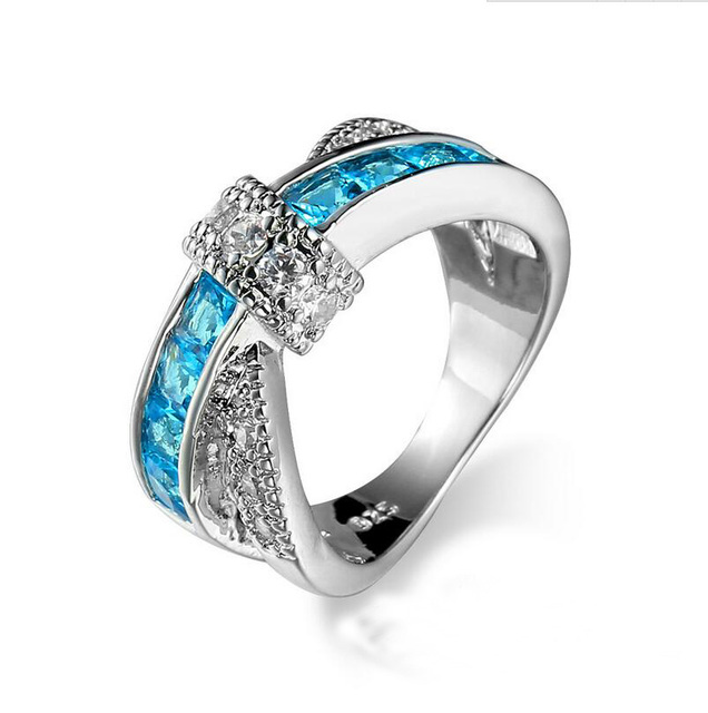 White Gold Color Light Blue Cubic Zirconia Stone Vintage Cross Wedding Rings  For Women And Men