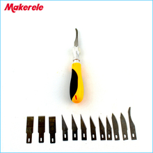 12Pcs Blades/Set Carving knife Alloy steel blade Wood Engraving cutting Sculpture Knife Scalpel Cutting PCB Circuit Board Repair coil cutting knife and blade