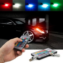 2x T10 W5W 194 5050 SMD 6 LED Car RGB Reading Wedge Side Light Auto Parking Lamp Flashing Bulb + Remote Controller ( No Battery) стоимость
