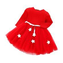 5d7758c9b3 Boże narodzenie nowy rok kostiumy dla dziewczyny pięcioramienna gwiazda  ubrania dla dzieci z długimi rękawami dziewczyna