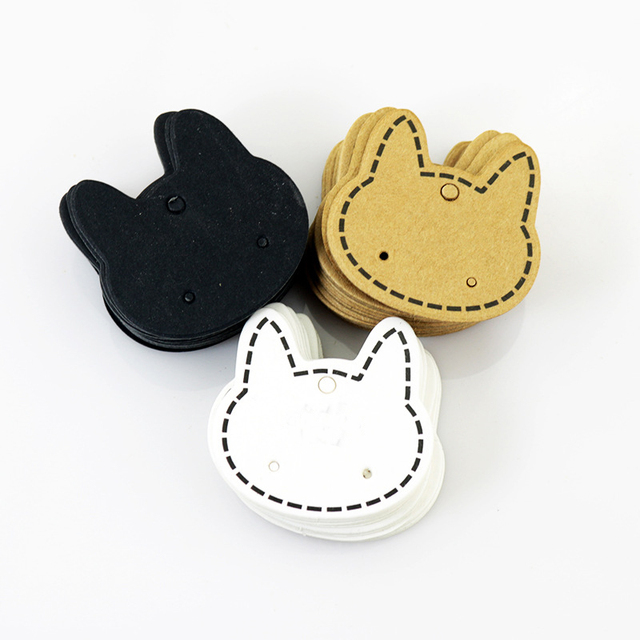 100pcslot hot earring paper card cat shape cards earring packing card shape blank card
