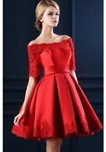 Kurze Brautkleider Rot Abendkleider Elegante Appliques Satin Hochzeit Kleid Robe de soiree Vestidos de fiesta Abendkleid
