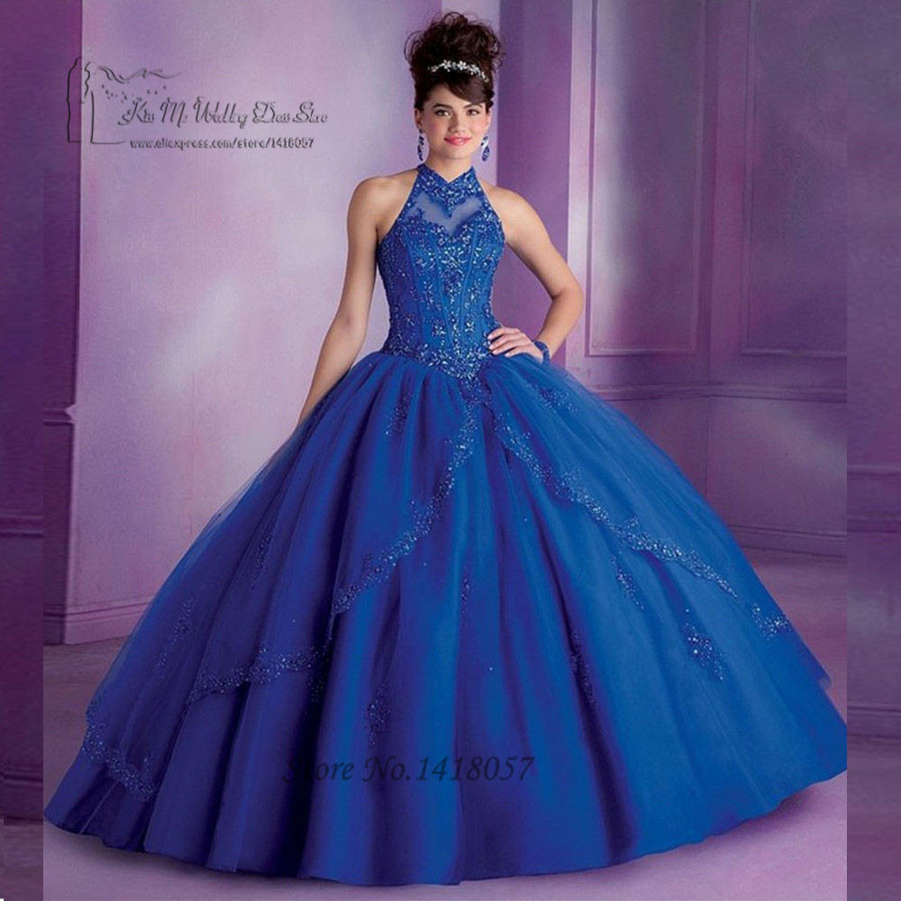 Robe de 15 Puffy Rouge Bleu Royal Quniceanera Robes De Bal robes Pas Cher robe de Bal En Dentelle À Paillettes Bonbon 16 Robes Debutanta robes