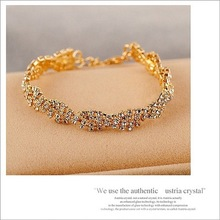Elegant Deluxe 2 Colors Rhinestone Crystal  Bracelet Bangle Jewelry For Women Girl Gift