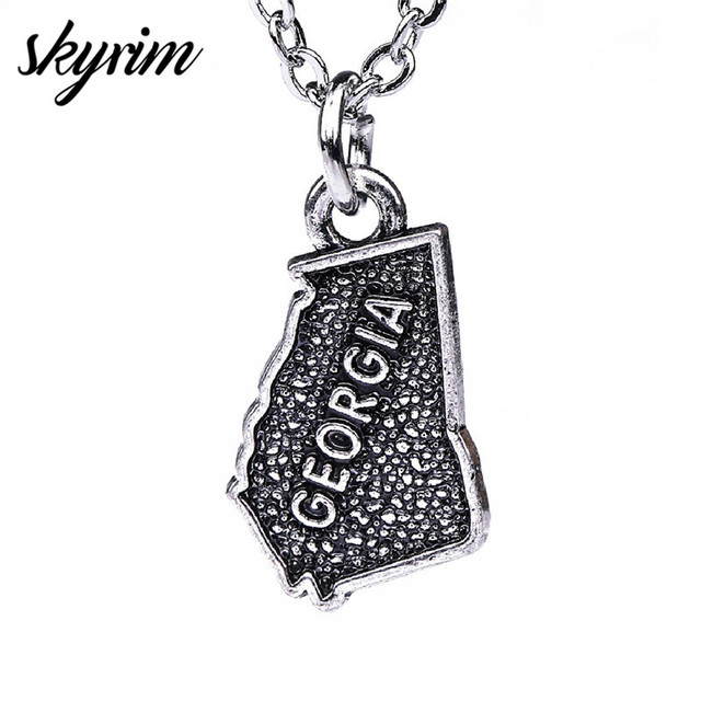 US $0 98 |Skyrim Personalized Georgia Geographic Pendant Necklace Antique  Silver Plated Map Charm Necklace For Men/Women Jewelry Best Gift-in Pendant