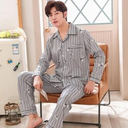 2019 Spring Autumn Casual Striped Cotton Pajamas Sets for Men Long Sleeve Pyjama Sleepwear Male Homewear Loungewear Home Clothes