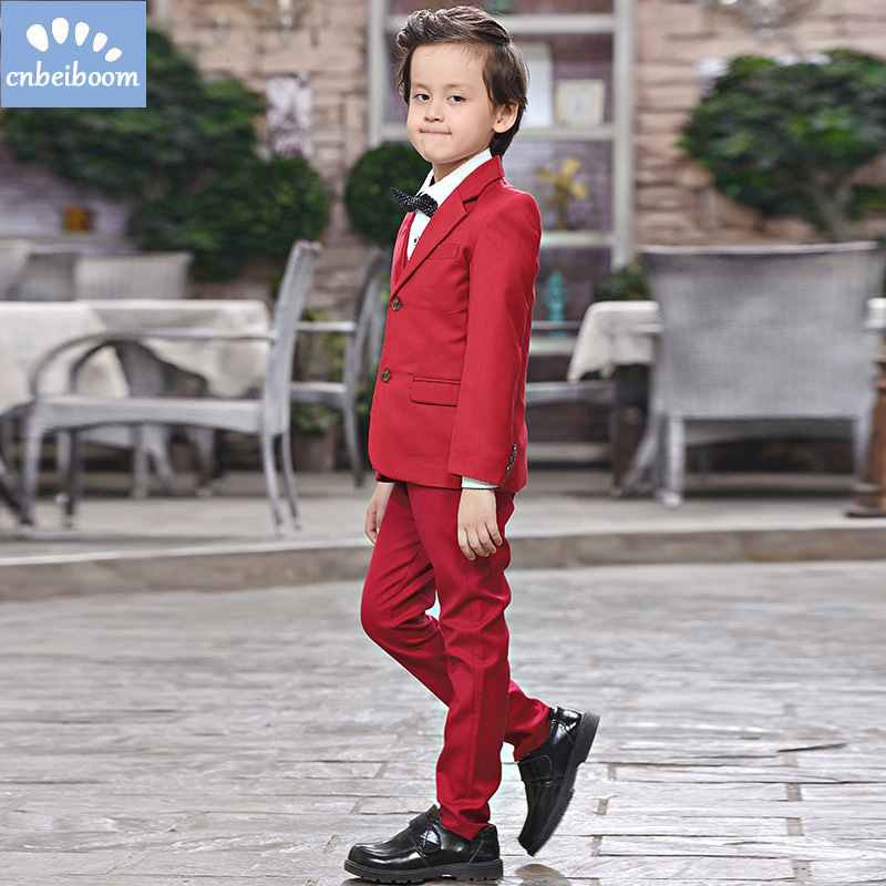 2018 New Fashion Red Baby Boys Suit Kids Blazers Boy Suit For Weddings Prom Formal Spring Autumn Wedding Dress Boy Suits new boys kids suit blazers fashion boy weddings prom suits wedding dress 4 pcs spring autumn children clothing 2 4 6 8 10 years