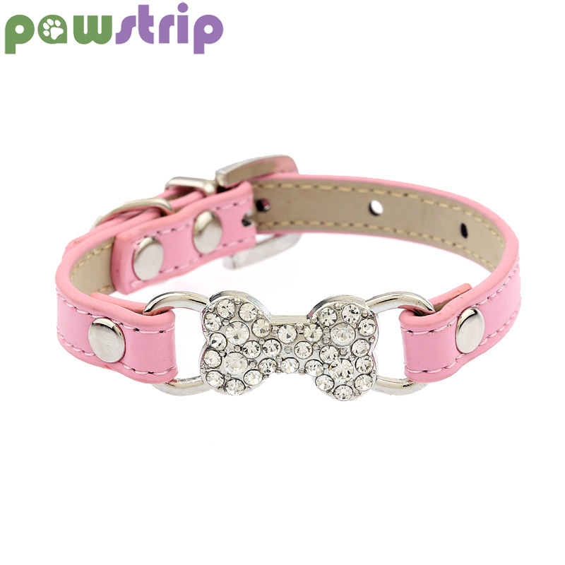pawstrip 5 Colors Bling Rhinestone Small Dog Collar PU Leather Cat Chihuahua Yorkie Pet Lead S/M