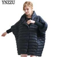 Marke Frauen Winter Jacke 2019 Casual Fledermaus Ärmeln Patchwork Weiße Ente Unten Mantel Lose Übergroßen Frauen Jacken AO325