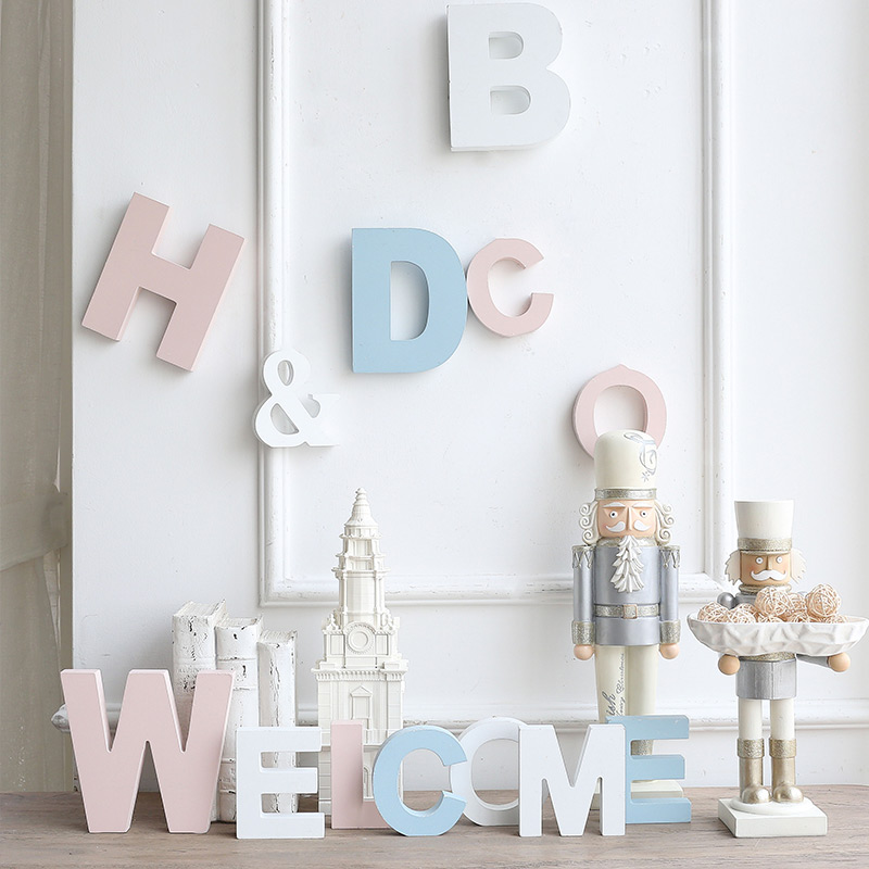 M Sub Home Furnishing Diy Creative Wooden Wall Hangings English Monogram Decorative Mural Shooting Props Art Gif In Figurines Miniatures