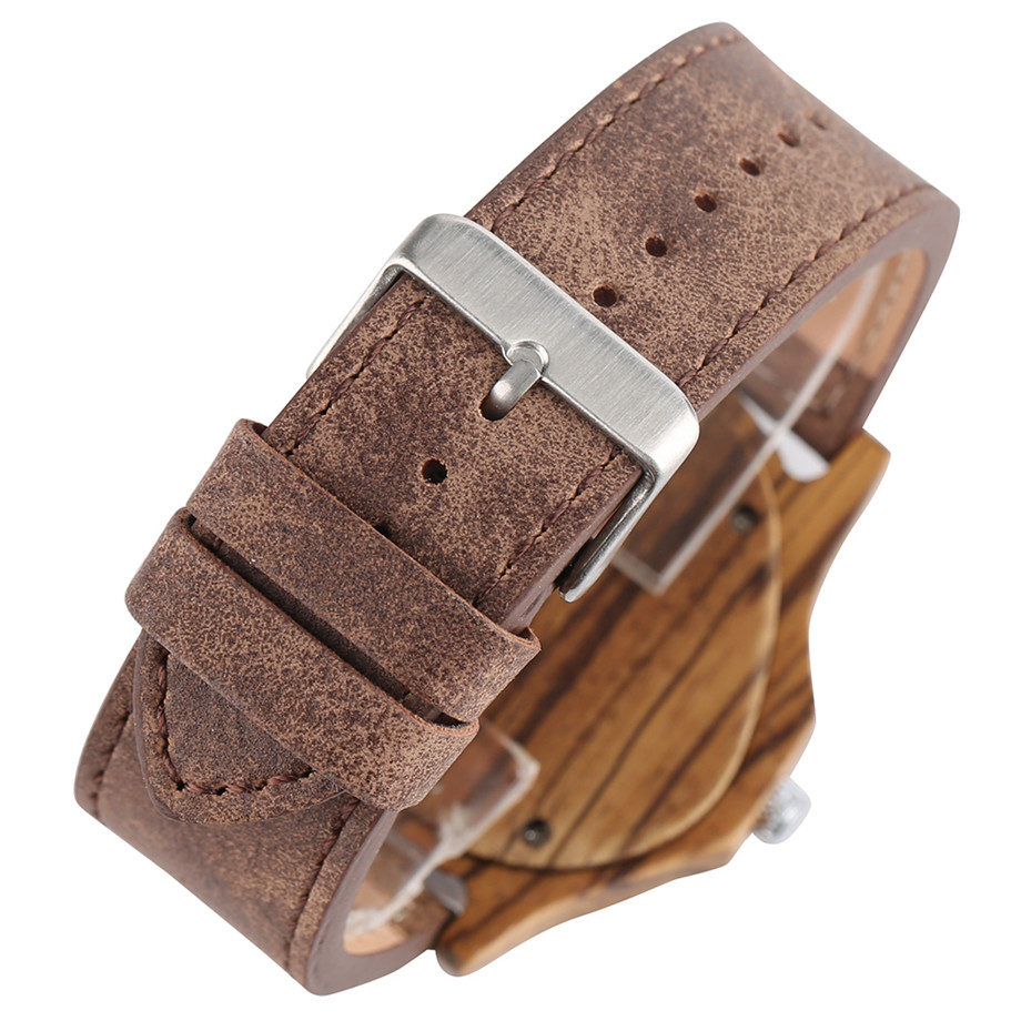 genuine leather band pink buckle quartz zebra wood watches04