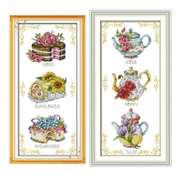 Flower Cake Teapot Cross Stitch Kit Counted White Canvas Fabric 18ct Pre Printed 14ct 11ct Embroidery