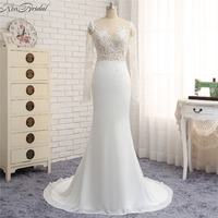 New Fashion Mermaid Wedding Dresses Sheer Long Sleeve Sweep Train Bridal Gowns High Neck Vestido De